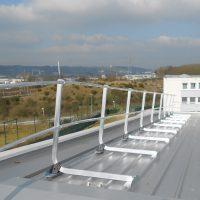 Guardrail on steel deck